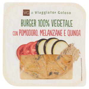 Burger 100% vegetale con pomodoro, melanzane, e quinoa 100% vegetale