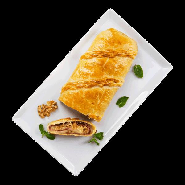 Rotolo salato con prosciutto cotto, scamorza e noci