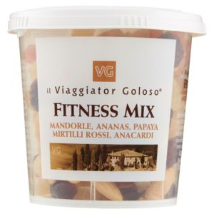 Fitness mix mandorle, ananas, papaya, mirtilli rossi, anacardi