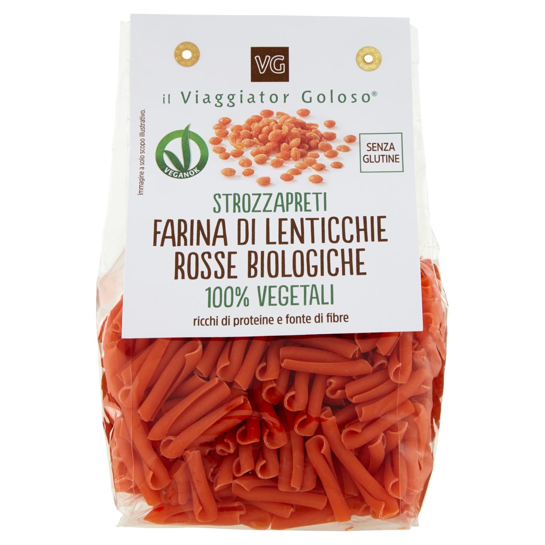 Strozzapreti farina di lenticchie rosse biologiche 100% vegetali