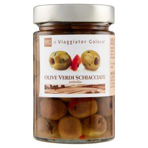 Olive verdi schiacciate sott'olio