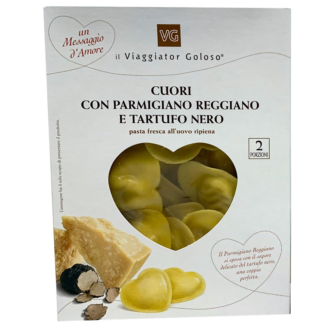 Cuori ripieni con parmigiano reggiano e tartufo nero