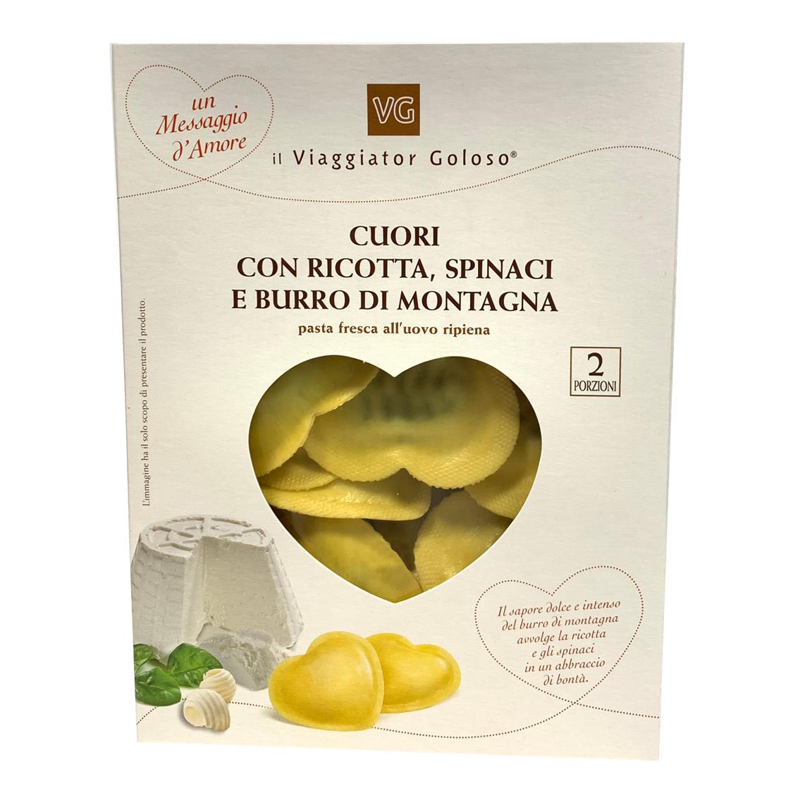 Cuori ripieni ricotta spinaci e burro