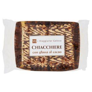 Chiacchiere con glassa al cacao