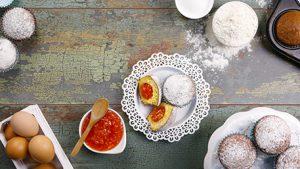 Muffin con <br>marmellata di <br>arancia rossa