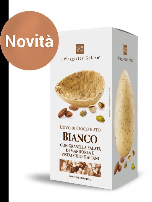 Uova di Cioccolato Bianco con Granella Salata di Mandorla e Pistacchio Italiani